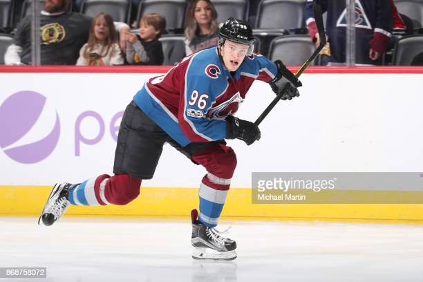 Mikko Rantanen of the Colorado Avalanche skates prior to the game against the Chicago Blackhawks at the Pepsi Center on October 28 2017 in Denver...