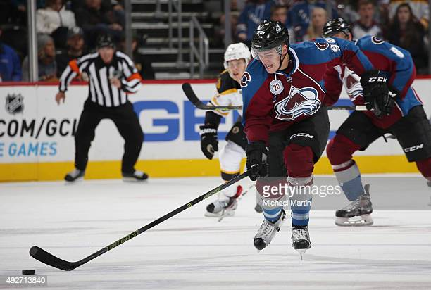 Mikko Rantanen of the Colorado Avalanche skates with the puck against the Boston Bruins at the Pepsi Center on October 14 2015 in Denver Colorado