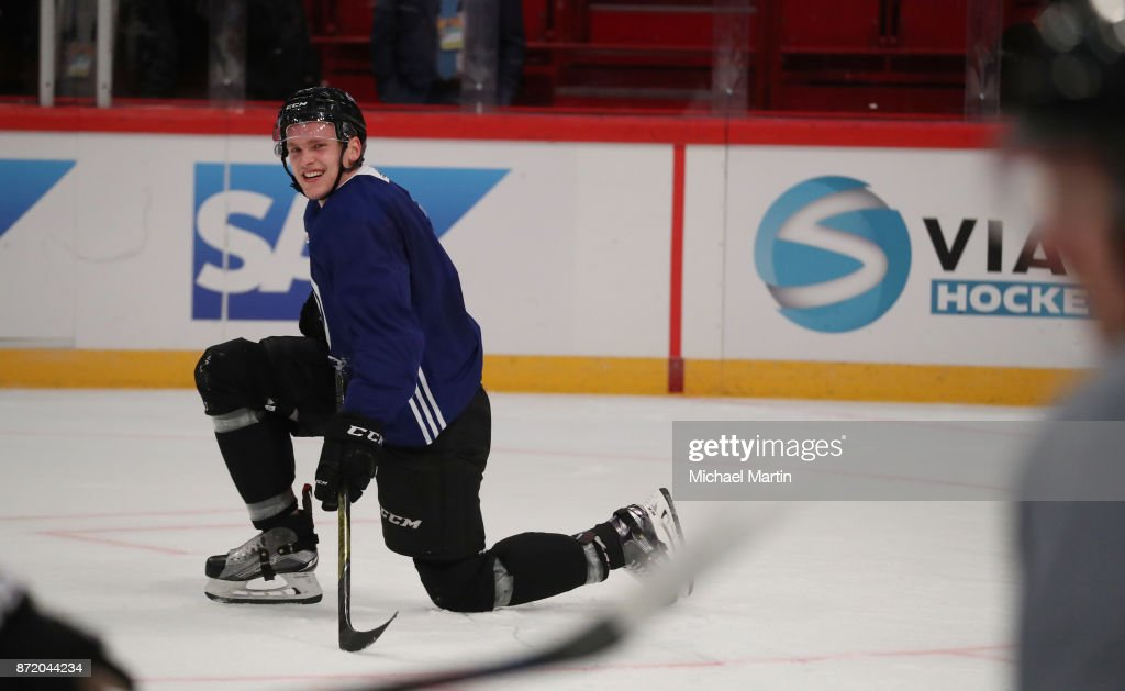 Mikko Rantanen #96 of the Colorado Avalanche smiles during practice at the Ericsson Globe on November 9, 2017 in Stockholm, Sweden.
