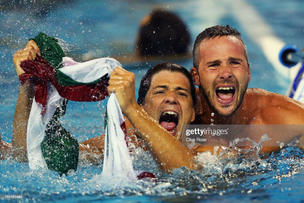 Miklos Gor-Nagy (L) and Marton Szivos of Hungary celebrate after victory in the Water Polo Men's Gold Medal Match between Hungary and Montenegro on day fifteen of the 15th FINA World Championships at Piscines Bernat Picornell on August 3, 2013 in Barcelona, Spain.