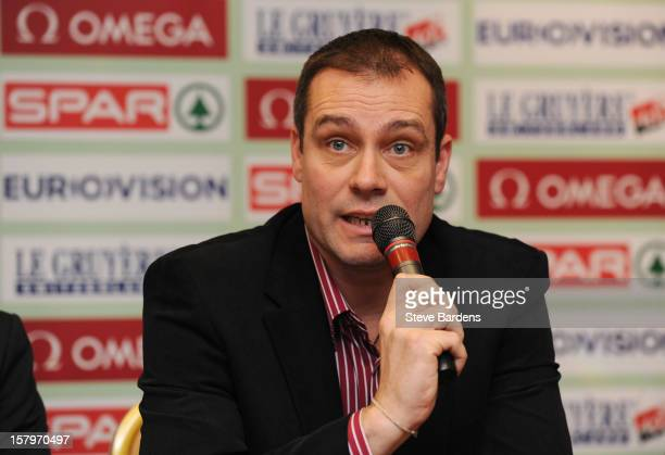 Miklos Gyulai the President of the Hungarian Athletics Association talks to the media during a press conference for the 19th SPAR European Cross...