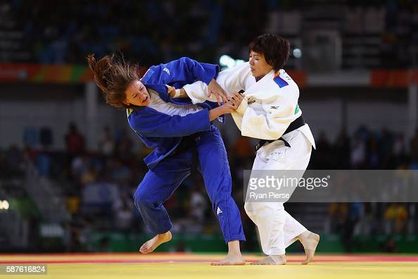 Miku Tashiro of Japan and Kathrin Unterwurzacher of Austria compete during the Women's 63kg bout on Day 4 of the Rio 2016 Olympic Games at the...