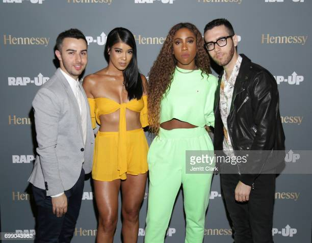 Mila J and Sevyn Streeter pose with RapUp Founders Cameron Lazerine and Devin Lazerine at the RapUp 3rd Annual PreBET Awards Dinner Presented by...