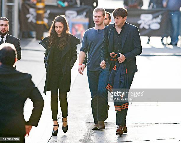 Mila Kunis and Ashton Kutcher are seen at 'Jimmy Kimmel Live' on March 28 2016 in Los Angeles California
