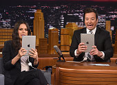 Mila Kunis and host Jimmy Fallon during the 'Filtered Scenes' segment on 'The Tonight Show Starring Jimmy Fallon'at Rockefeller Center on July 20...