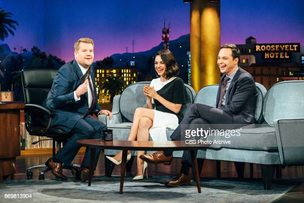 Mila Kunis and Jim Parsons chat with James Corden during 'The Late Late Show with James Corden' Wednesday November 1 2017 On The CBS Television...
