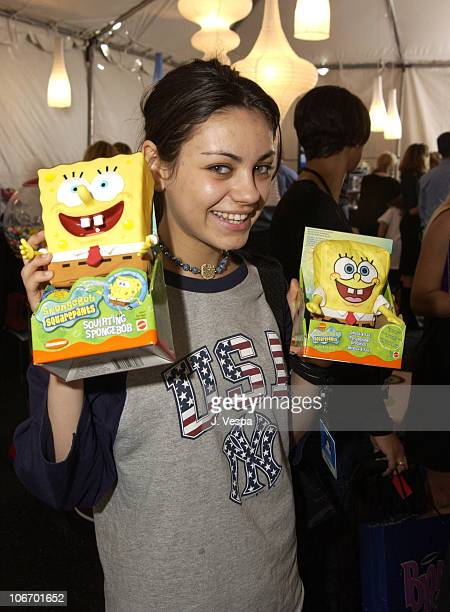 Mila Kunis with Sponge Bob Square Pants during Nickelodeon's 15th Annual Kids Choice Awards Backstage Creations Talent Retreat Day 2 at Barker Hangar...