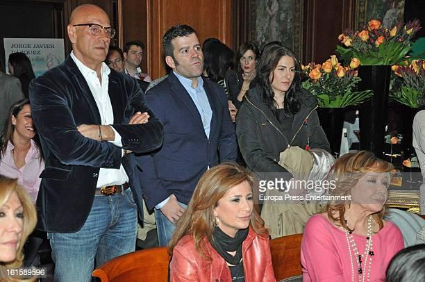 Mila Ximenez Gema Lopez and Kiko Matamoros attend Jorge Javier Vazquez's Golden Book party for his book 'La vida iba en serio' at Gran Melia Fenix...