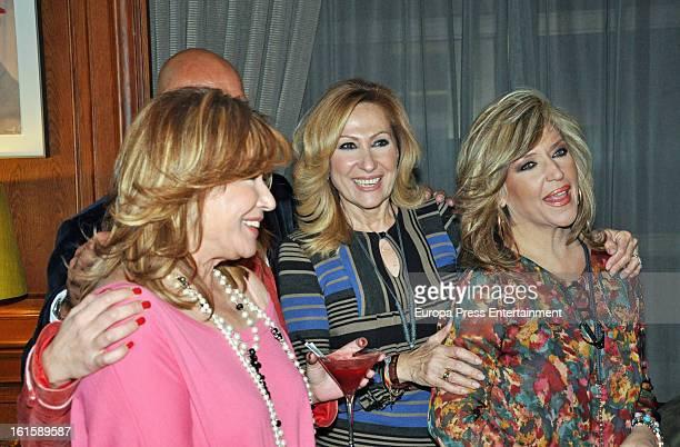 Mila Ximenez Rosa Benito and Lydia Lozano attend Jorge Javier Vazquez's Golden Book party for his book 'La vida iba en serio' at Gran Melia Fenix...