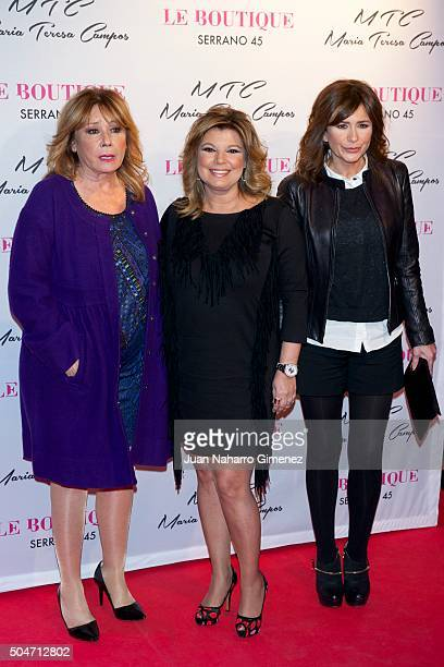 Mila Ximenez Terelu Campos and Gema Lopez attend 'MTC' shoes presentation by Maria Teresa Campos at Le Boutique on January 12 2016 in Madrid Spain