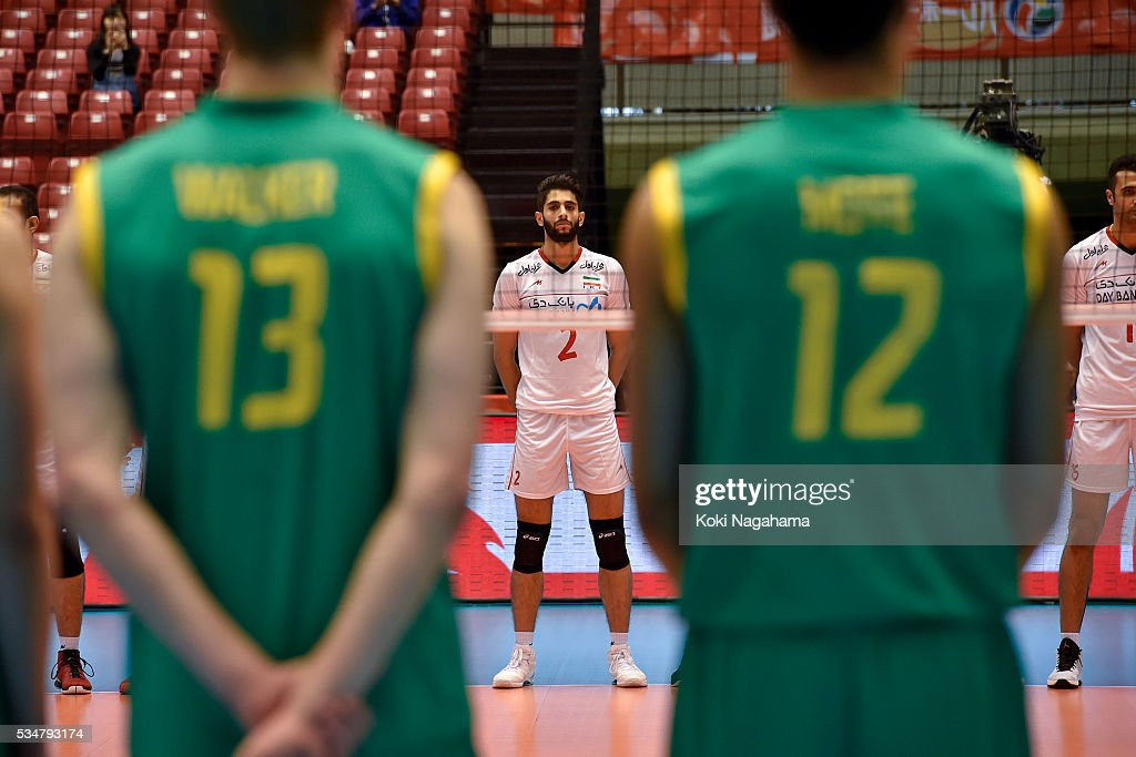 Milad Ebadipour Ghara H. #2 of Iran lines up prior to the Men's World Olympic Qualification game between Iran and Australia at Tokyo Metropolitan Gymnasium on May 28, 2016 in Tokyo, Japan.