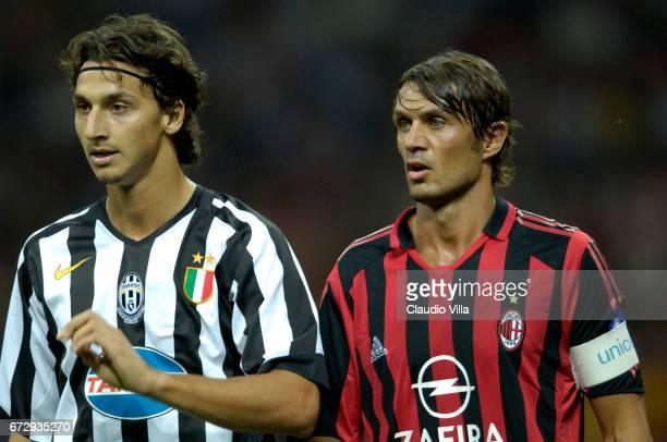 Zlatan Ibrahimovic of Juventus FC and Paolo Maldini of AC Milan look on during the macht Luigi Berlusconi Cup played between Millan vs Juventus of...