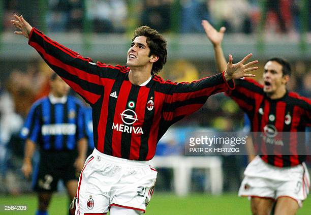 Milan AC's Brazilian midfielder Kaka jubilates after scoring his team's second goal against Inter milan during the Italian Serie A match 05 October...