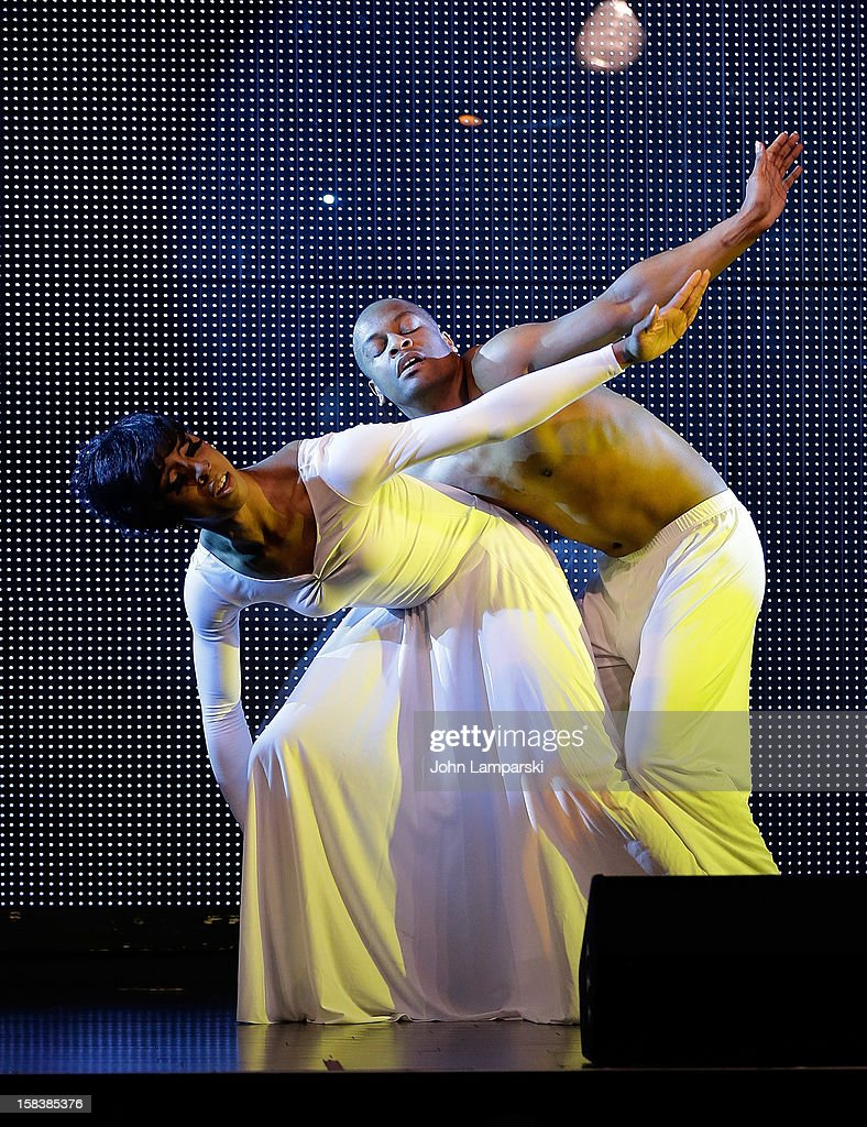 Milan and Dvid Glasby perform at Sahara Davenport Public Memorial Serviceat at the XL Nightclub on December 14, 2012 in New York City.