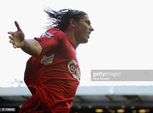 Milan Baros of Liverpool celebrates after scoring from the penalty spot during the Barclays Premiership match between Liverpool and Crystal Palace at...