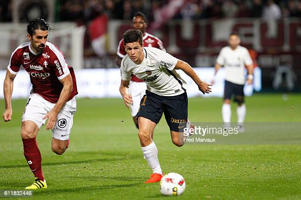 Milan Bisevac of Metz of Metz and Guido Carrillo of Monaco during the Ligue 1 match between FC Metz and AS Monaco at Stade SaintSymphorien on October...