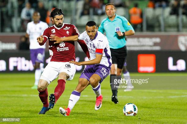 Milan Bisevac of Metz of Metz and Martin Braithwaite of Toulouse during the Ligue 1 match between FC Metz and Toulouse FC at Stade SaintSymphorien on...