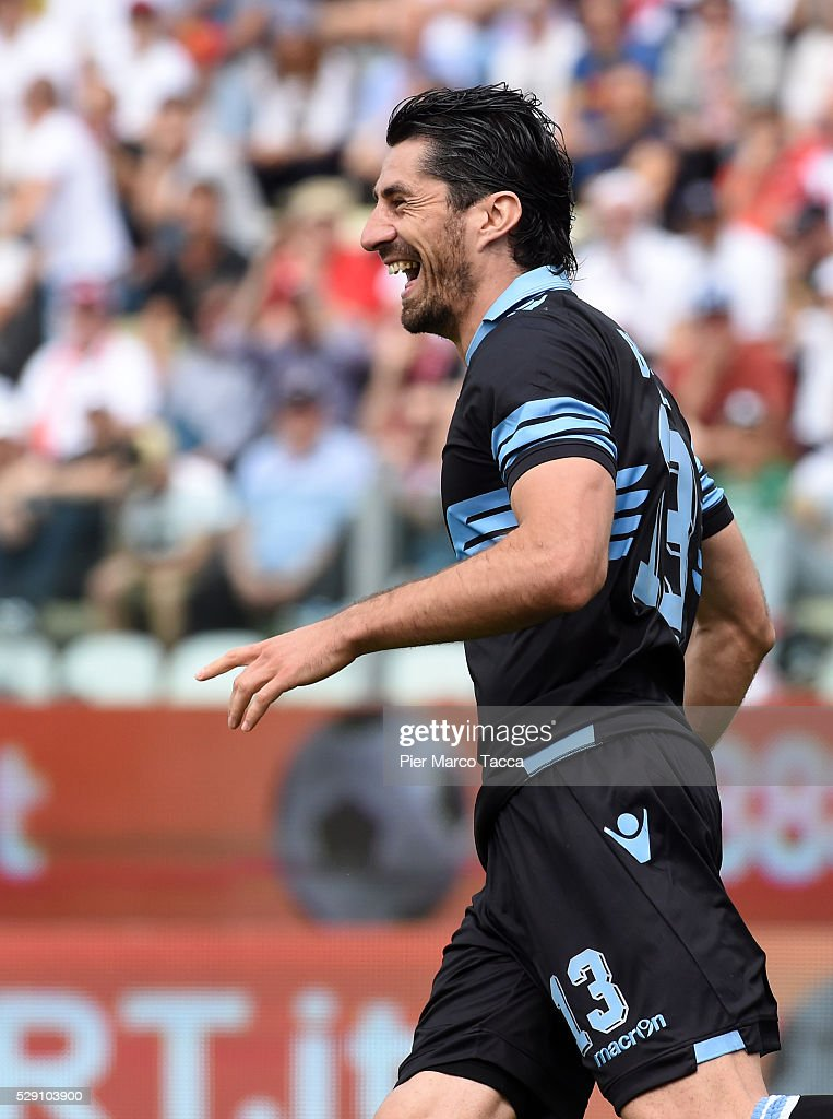 <a gi-track='captionPersonalityLinkClicked' href=/galleries/search?phrase=Milan+Bisevac&family=editorial&specificpeople=600075 ng-click='$event.stopPropagation()'>Milan Bisevac</a> of SS Lazio celebrates his first goal during the Serie A match between Carpi FC and SS Lazio at Alberto Braglia Stadium on May 8, 2016 in Modena, Italy.