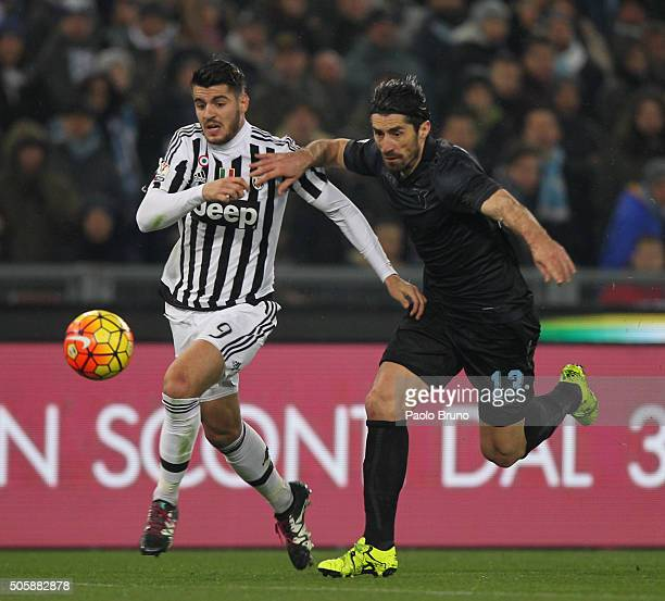 Milan Bisevac of SS Lazio competes for the ball with Alvaro Morata of Juventus FC during the TIM Cup match between SS Lazio and Juventus FC at Stadio...