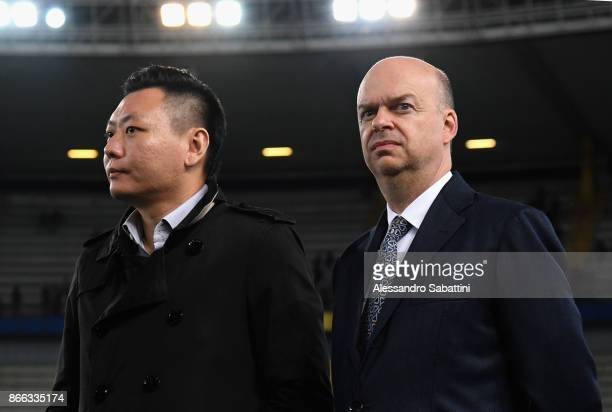 Milan board member David Han Li and AC Milan CEO Marco Fassone looks on before the Serie A match between AC Chievo Verona and AC Milan at Stadio...