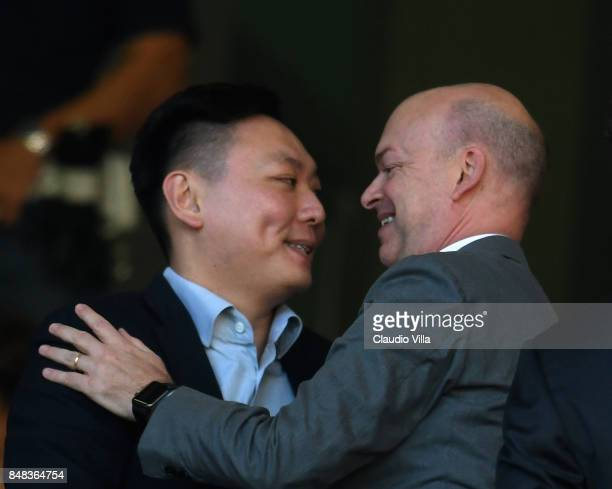 Milan board member David Han Li and AC Milan CEO Marco Fassone prior to the Serie A match between AC Milan and Udinese Calcio at Stadio Giuseppe...