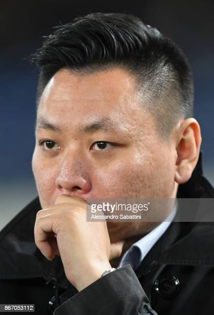 Milan board member David Han Li looks on before the Serie A match between AC Chievo Verona and AC Milan at Stadio Marc'Antonio Bentegodi on October...