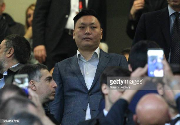 Milan board member Han Li David looks on before the Serie A match between AC Milan and AS Roma at Stadio Giuseppe Meazza on May 7 2017 in Milan Italy