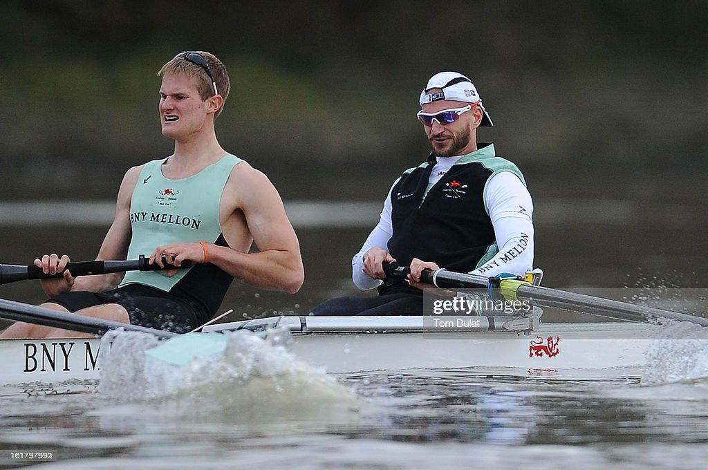 Milan Bruncvik (Bow) and Grant Wilson of The Cambridge team in action during the training race against University of Washington on the River Thames on February 16, 2013 in London, England.