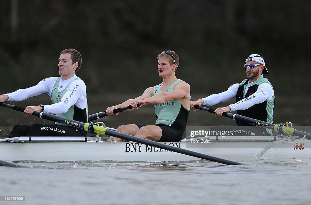Milan Bruncvik (Bow), Grant Wilson and Ty Otto of The Cambridge team in action during the training race against University of Washington on the River Thames on February 16, 2013 in London, England.