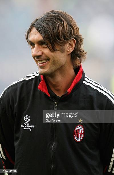 Milan captain Paolo Maldini enjoys a joke before the UEFA Champions league semi final between Barcelona and AC Milan on April 26 2006 at the Nou Camp...