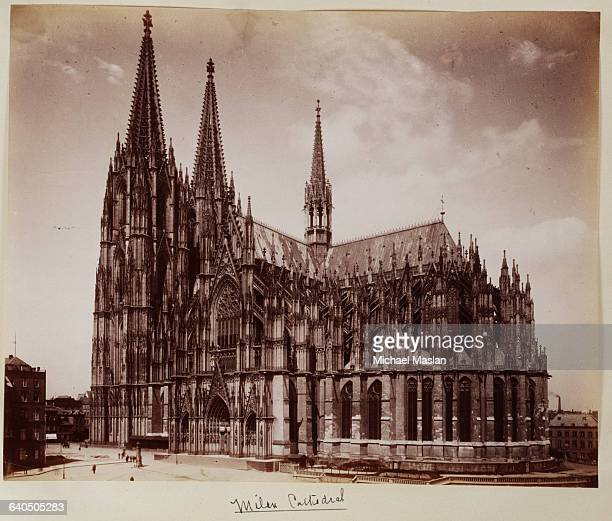 Milan Cathedral in Milan Italy ca 1890 The cathedral is covered in ornate spires