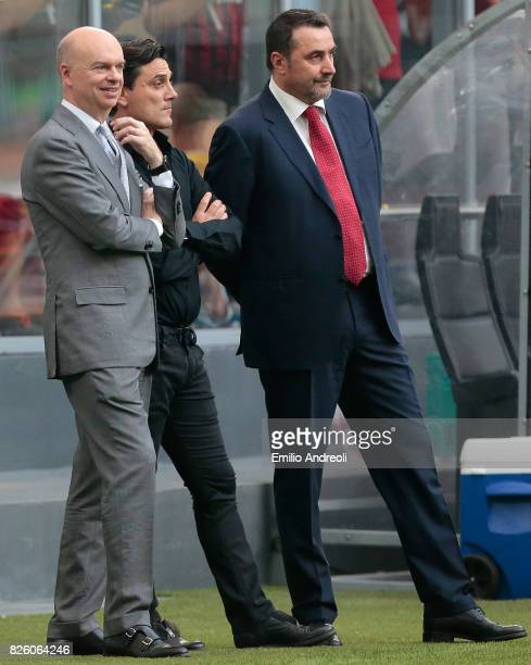 AC Milan CEO Marco Fassone AC Milan coach Vincenzo Montella and Sportif Director of AC Milan Massimiliano Mirabelli look on prior to the UEFA Europa...