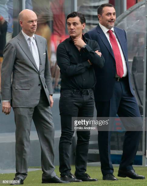Milan CEO Marco Fassone AC Milan coach Vincenzo Montella and Sportif Director of AC Milan Massimiliano Mirabelli attend the UEFA Europa League Third...