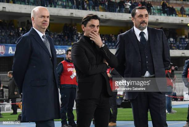 Milan CEO Marco Fassone AC Milan coach Vincenzo Montella and Sportif Director of AC Milan Massimiliano Mirabelli attend the Serie A match between AC...