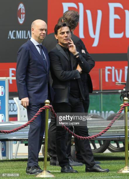 Milan CEO Marco Fassone and AC Milan coach Vincenzo Montella look on before the Serie A match between AC Milan and Empoli FC at Stadio Giuseppe...
