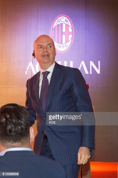 Milan CEO Marco Fassone attends the 2017 AC Milan China Tour Press Conference and MoU Signing Ceremony with CNGEF on July 16 2017 in Guangzhou...