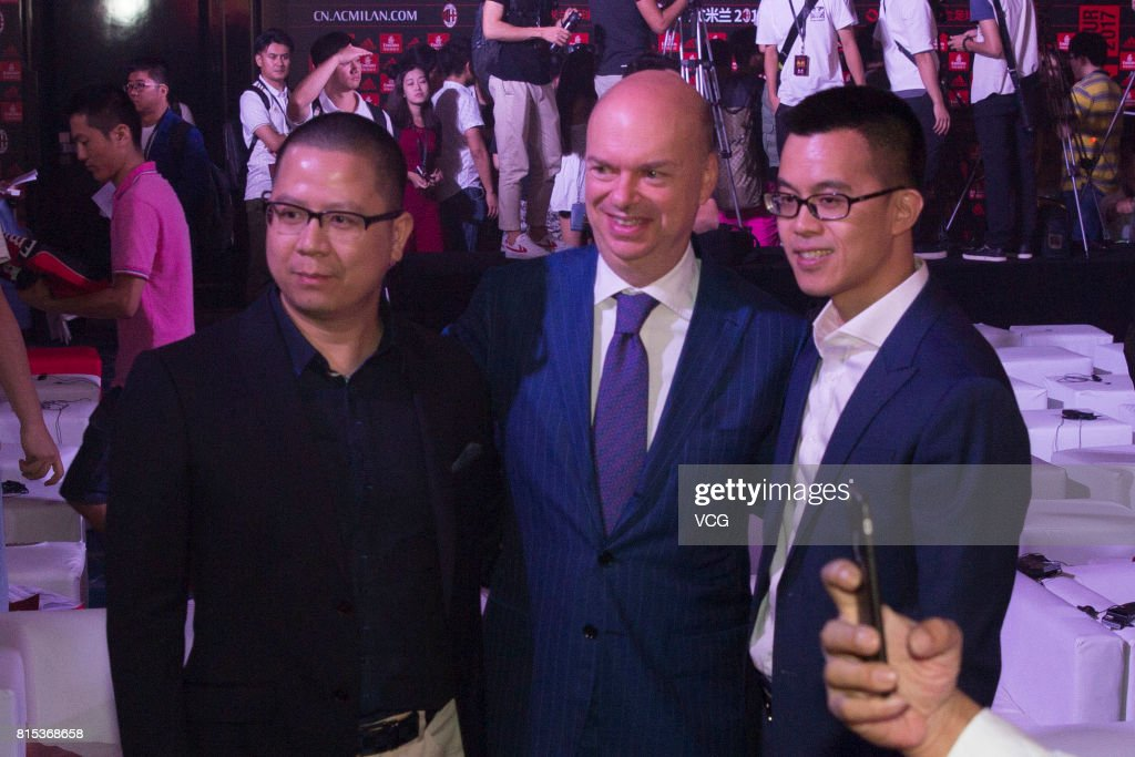AC Milan CEO Marco Fassone (C) attends the 2017 AC Milan China Tour Press Conference and MoU Signing Ceremony with CNGEF on July 16, 2017 in Guangzhou, Guangdong Province of China.