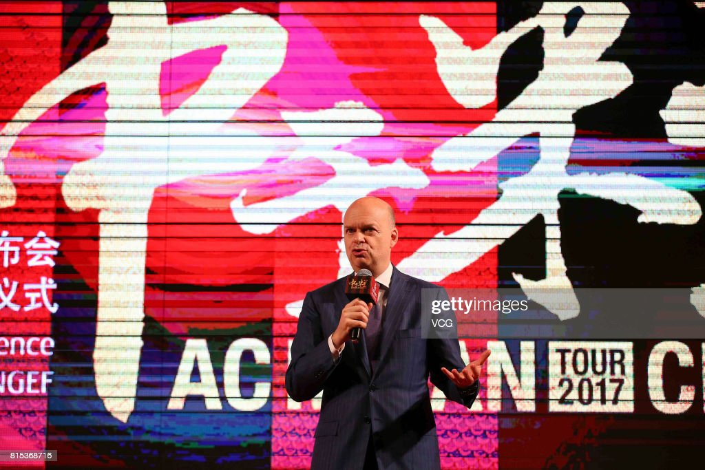 AC Milan CEO Marco Fassone attends the 2017 AC Milan China Tour Press Conference and MoU Signing Ceremony with CNGEF on July 16, 2017 in Guangzhou, Guangdong Province of China.