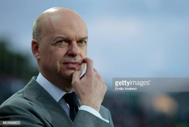 Milan CEO Marco Fassone looks on before the Serie A match between Atalanta BC and AC Milan at Stadio Atleti Azzurri d'Italia on May 13 2017 in...