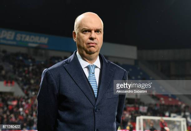 AC Milan CEO Marco Fassone looks on before the Serie A match between US Sassuolo and AC Milan at Mapei Stadium Citta' del Tricolore on November 5...