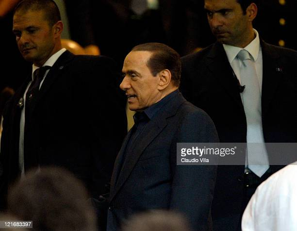 Milan chairman Silvio Berlusconi attends the Berlusconi Trophy match between AC Milan and Juventus FC at Giuseppe Meazza Stadium on August 21 2011 in...