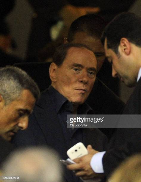 Milan chairman Silvio Berlusconi during the Berlusconi Trophy match between AC Milan and Juventus FC at Stadio Giuseppe Meazza on August 19 2012 in...