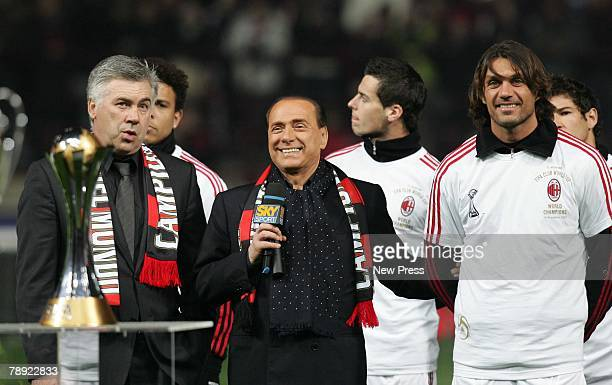 Milan coach Carlo Ancelotti President of AC Milan Silvio Berlusconi and Paolo Maldini during a ceremony prior to the Serie A match between AC Milan...