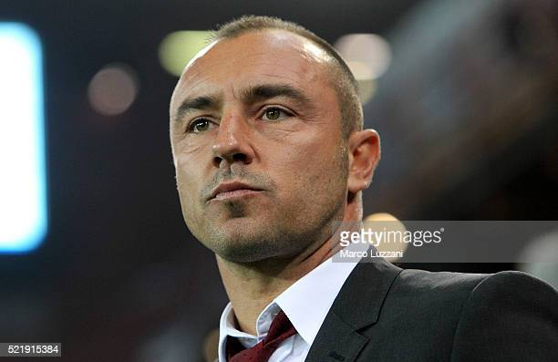 Milan coach Cristian Brocchi looks on before the Serie A match between UC Sampdoria and AC Milan at Stadio Luigi Ferraris on April 17 2016 in Genoa...