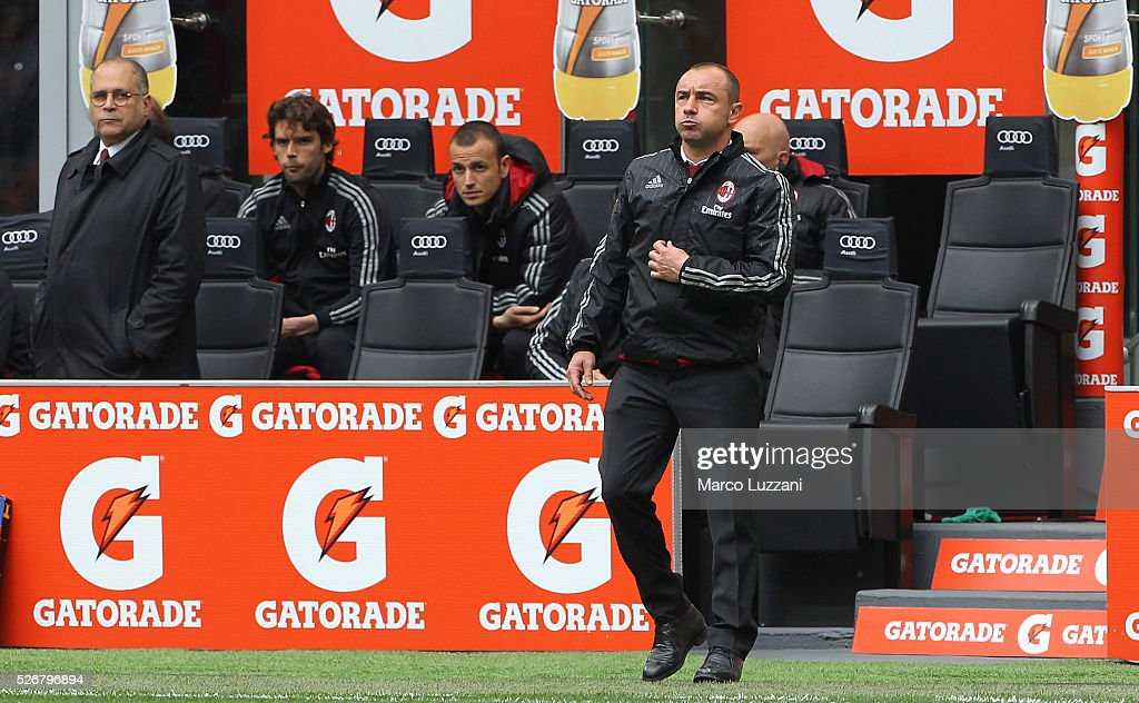 AC Milan coach <a gi-track='captionPersonalityLinkClicked' href=/galleries/search?phrase=Cristian+Brocchi&family=editorial&specificpeople=728934 ng-click='$event.stopPropagation()'>Cristian Brocchi</a> watches the action during the Serie A match between AC Milan and Frosinone Calcio at Stadio Giuseppe Meazza on May 1, 2016 in Milan, Italy.