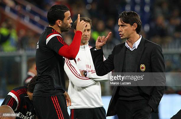 Milan coach Filippo Inzaghi issues instructions to his player Adil Rami during the warmup before the Serie A match between UC Sampdoria and AC Milan...