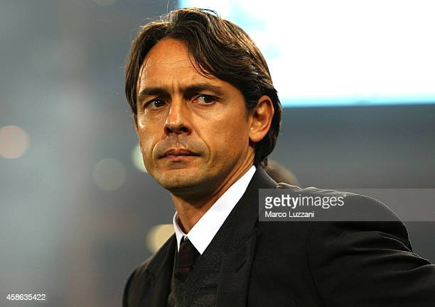Milan coach Filippo Inzaghi looks on before the Serie A match between UC Sampdoria and AC Milan at Stadio Luigi Ferraris on November 8 2014 in Genoa...