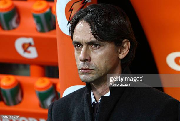Milan coach Filippo Inzaghi looks on before the Serie A match between AC Milan and Udinese Calcio at Stadio Giuseppe Meazza on November 30 2014 in...