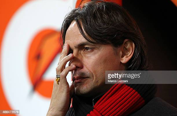 Milan coach Filippo Inzaghi looks on before the Serie A match between AC Milan and Hellas Verona FC at Stadio Giuseppe Meazza on March 7 2015 in...