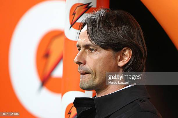 Milan coach Filippo Inzaghi looks on before the Serie A match between AC Milan and Cagliari Calcio at Stadio Giuseppe Meazza on March 21 2015 in...